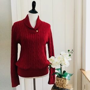 CHAPS Ruby Red 100% Cotton Cable Knit Sweater